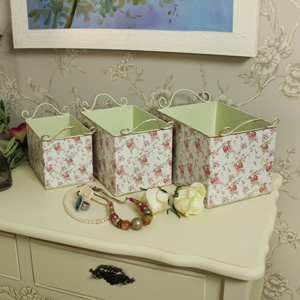 Set of 3 Cream Metal Decorative Floral Storage Boxes