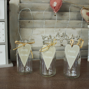 Set of 3 Decorative Hanging Glass Bottle Storage Jars with Heart Charms
