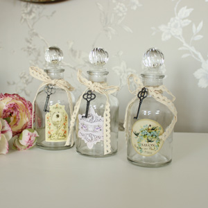 Set of 3 Glass Boudoir Bottles