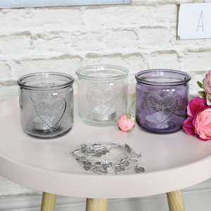 Set Of 3 Glass Heart Jars