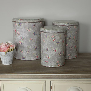Set of 3 Grey Butterfly Storage Tins