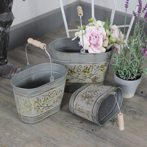 Set of 3 Grey Oval Bucket Planter