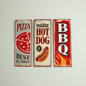 Set of 3 Metal Retro Food Wall Signs