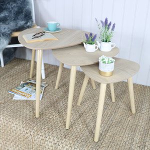 Set of 3 Nest of Tables Natural Wood