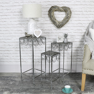 Set of 3 Ornate Grey Metal Plant Stand Tables