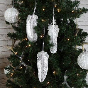 Set of 3 Silver Hanging Feather Decoration