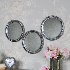 Set of 3 Silver Rope Effect Wall Mirror 25.5cm x 25.5cm