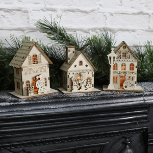 Set Of 3 Small Wooden Light Up Christmas Houses