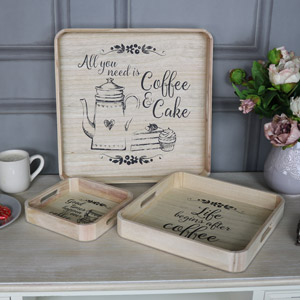 Set of 3 Square Coffee Serving Trays