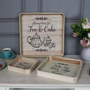 Set of 3 Square Tea Serving Trays