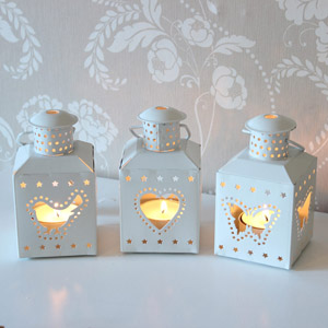 Set of 3 Ivory Tea Light Lanterns