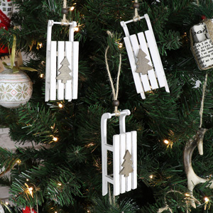 Set Of 3 White Hanging Sleigh Decorations