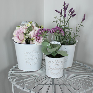 Set of 3 White Planters