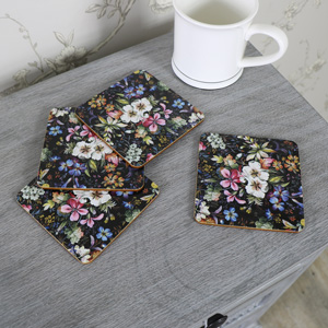 Set of 4 Black Floral Blossom Coasters