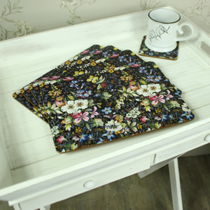 Set of 4 Black Floral Blossom Placemats