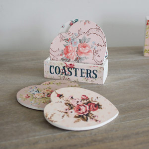 Set of 4 Floral Love Heart Coasters in Stand