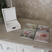 Set of 4 Flower Coasters with Wooden Box