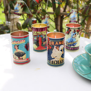 Set of 4 Fruit Scented Candles in Vintage Tin Pots