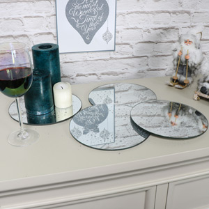 Set of 4 Mirrored Sparkly Candle Plates / Table Mats
