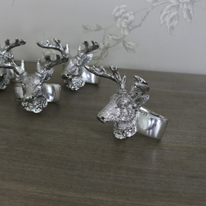 Set of 4 Silver Stag Head Napkin Rings