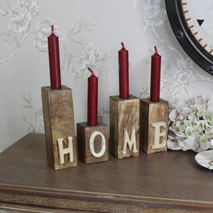 Set of 4 Wooden HOME Letter Candle Holders