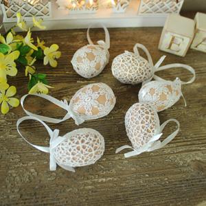 Set of 6 Decorative Crochet Covered Easter Eggs