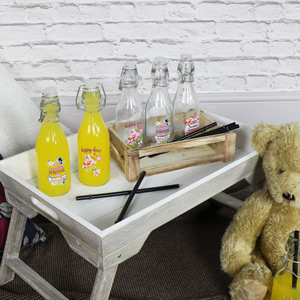 Set of 6 Glass Bottles In A Wooden Crate
