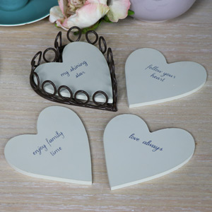 Set of Cream Heart Coaster in Holder