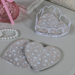 Set of Rustic Heart Shaped Coasters in Holder