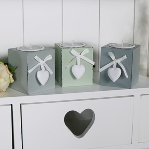 Set of Three Grey Wooden Heart Tealight Holders