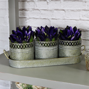 Set of Three Metal Pots in a Tray