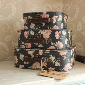 Set of Three Black and Pink Floral Suitcases