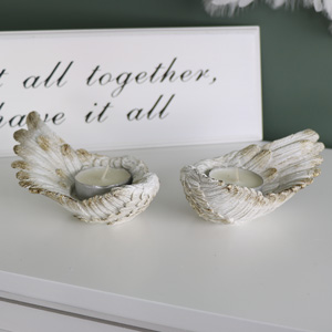 Set of Two Angel Wing Tea Light Holders