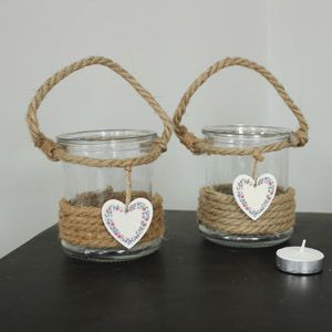 Set of Two Candle Holder Jam Jars