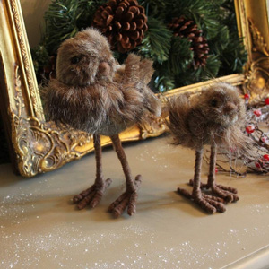 Set Of Two Fluffy Christmas Bird Decorations