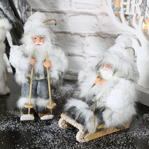 Set of Two Grey Christmas Santa's