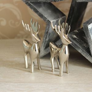 Set of Two Small Chrome Reindeer