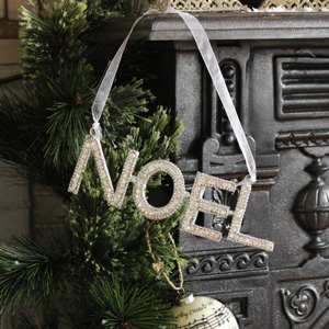 Silver Hanging Crystal 'Noel' Sign