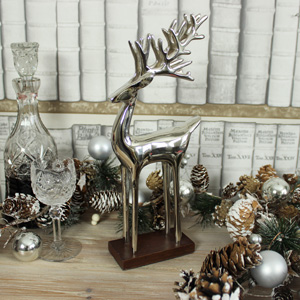 Silver Reindeer on Stand