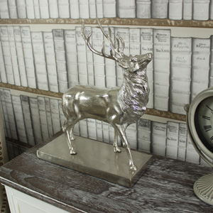 Ornamental Metal Stag on Stand