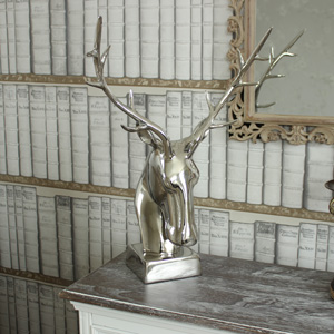 Silver Standing Stag's Head