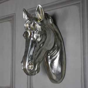 Silver Wall Mounted Horse Head