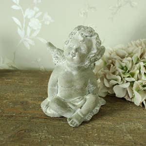 Sitting Stone Cherub Ornament