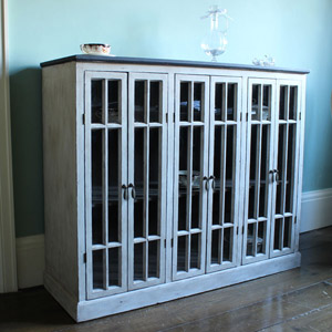 Painted Glazed French Style Sideboard with Black Top