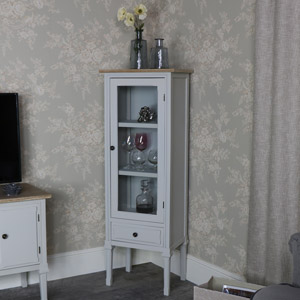 Slim Grey Glazed Display Cabinet - Stanford Range
