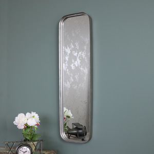 Slim Grey Industrial Style Metal Wall Mirror 23cm x 83cm
