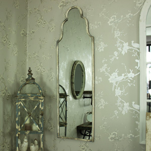 Slim White Ornate Arched Wall Mirror