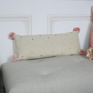 Small Beige Pom Pom Bolster Cushion