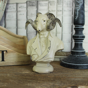 Aged Cream Ram Bust Ornament