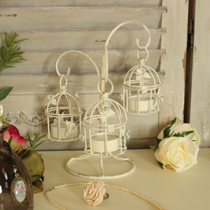 Small Decorative Cream Metal Triple Birdcage Tealight Holder